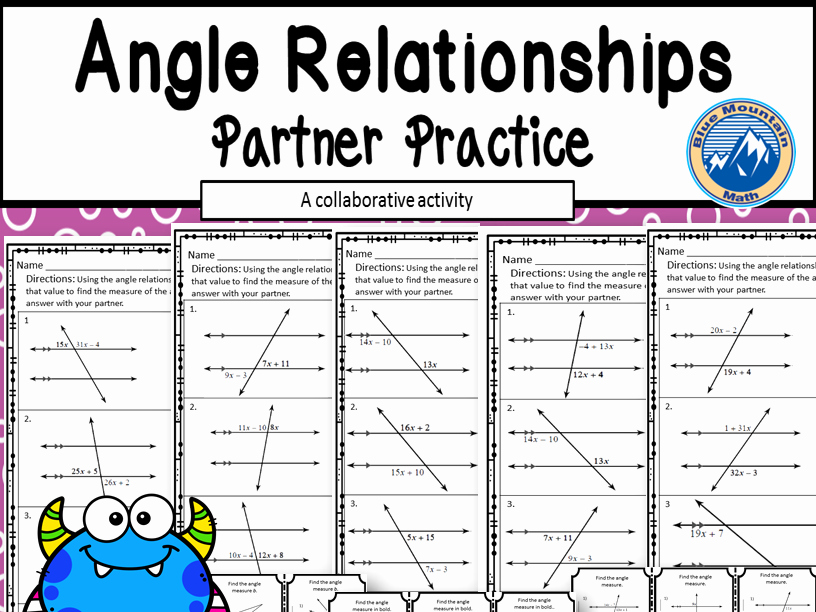 Angle Relationships Worksheet Answers Inspirational Angle Relationship Partner Practice by Linda