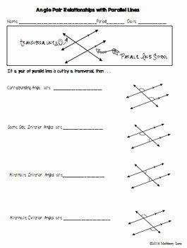 Angle Relationships Worksheet Answers Luxury Angle Pair Relationships with Parallel Lines Geometry by