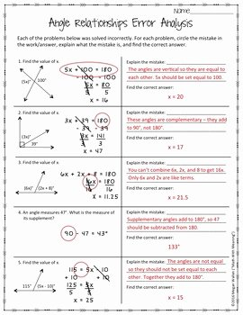 Angle Relationships Worksheet Answers Luxury Angle Relationships Error Analysis Ccss 7 G B 5 Aligned