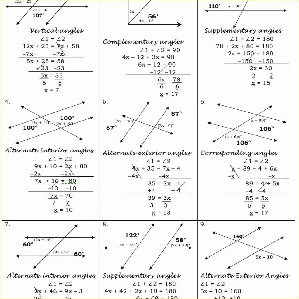 Angle Relationships Worksheet Answers Luxury Parallel Lines Cut by A Transversal Worksheet Answer Key