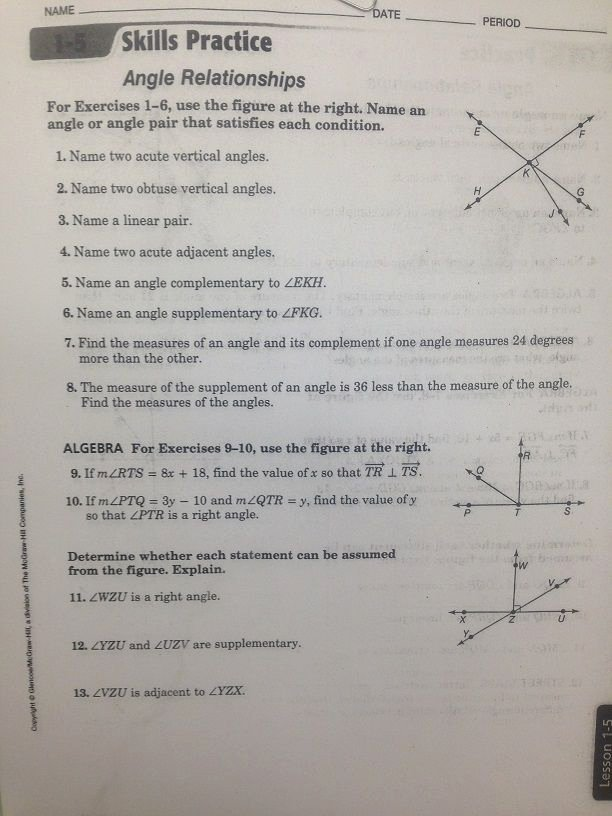 Angle Relationships Worksheet Answers Unique Angle Relationships Worksheets for Geometry Google