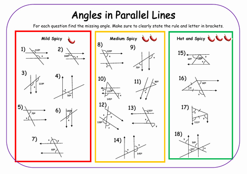 Angles and Parallel Lines Worksheet Awesome Angles In Parallel Lines Differentiated Worksheet by