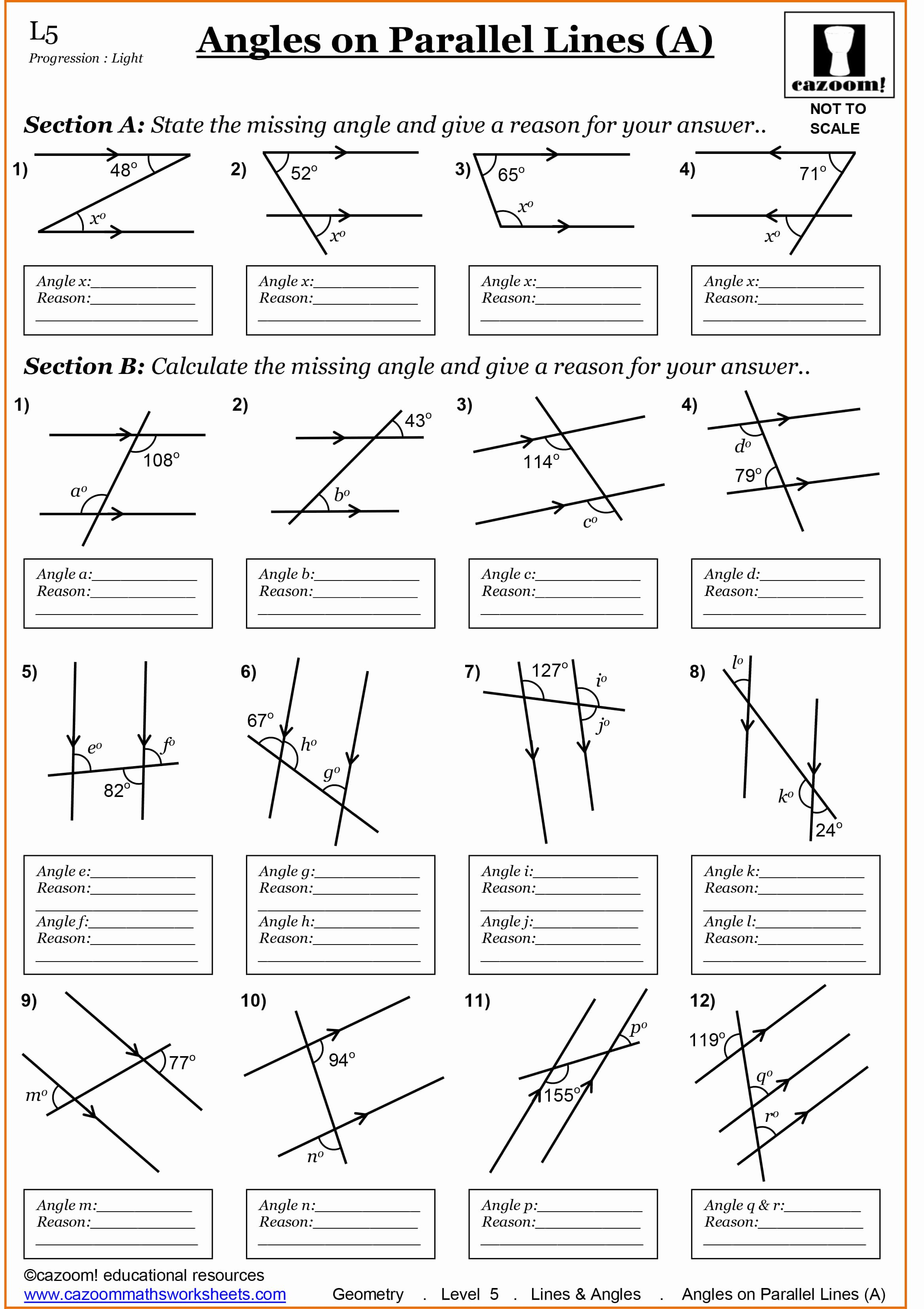 Angles and Parallel Lines Worksheet Awesome Year 7 Maths Worksheets