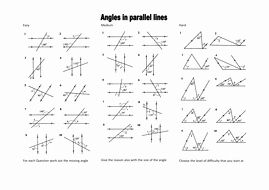 Angles and Parallel Lines Worksheet Beautiful Angles In Parallel Lines Level 6 Grade C by Mrobertson1987