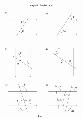 Angles and Parallel Lines Worksheet Elegant Angles In Parallel Lines Worksheet by Mikespence1000