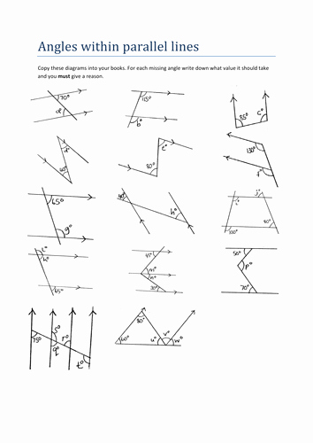 Angles and Parallel Lines Worksheet Fresh Maths Worksheet Angles within Parallel Lines by