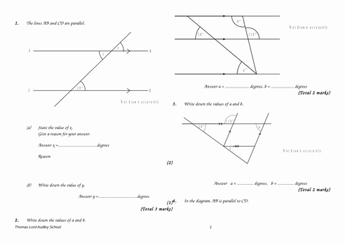 Angles and Parallel Lines Worksheet New Angles In Parallel Lines Gcse Questions by Labrown20