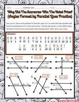 Angles and Parallel Lines Worksheet New Parallel Lines Angles formed by Parallel Lines Halloween