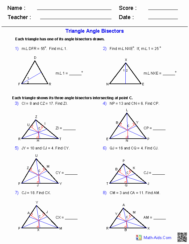 Angles In A Triangle Worksheet Awesome Angle Bisectors Worksheets Teaching Math