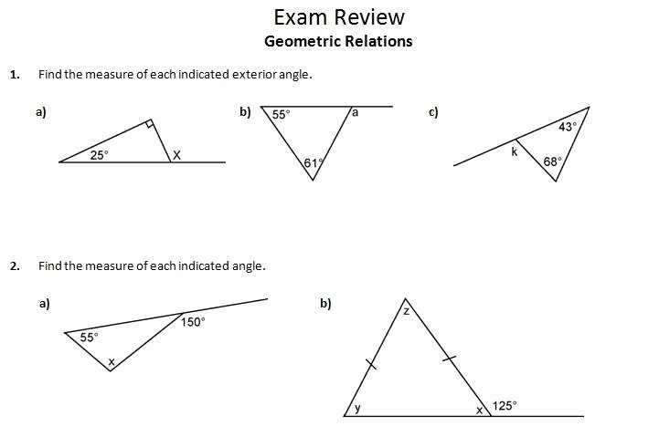Angles In A Triangle Worksheet Awesome Ins Pi Re Math Mpm1d Exam Review 3 Geometric Relations