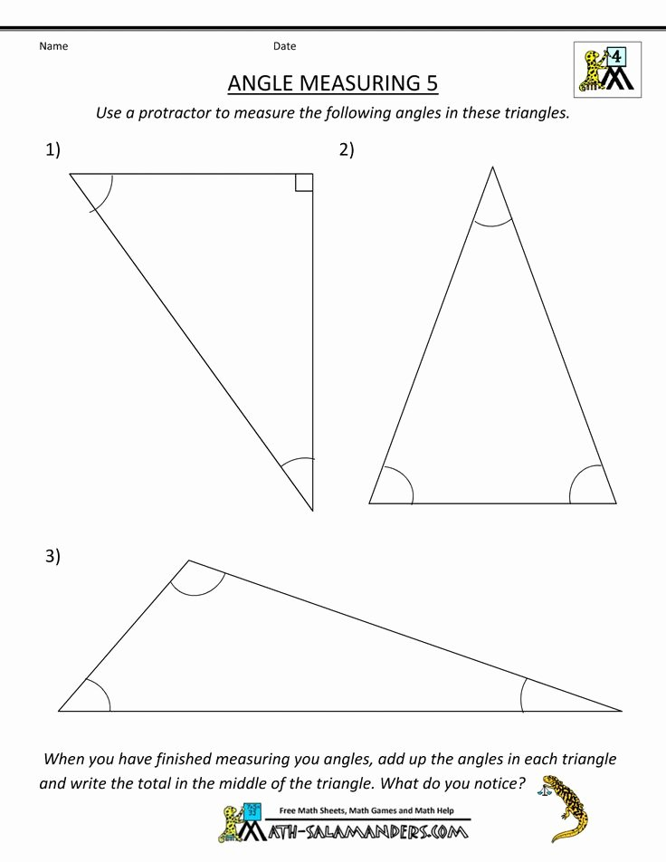 Angles In A Triangle Worksheet Awesome Printable Math Worksheets Angle Measuring 5