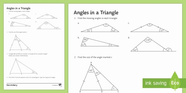 Angles In A Triangle Worksheet Beautiful Angles In A Triangle Worksheet Worksheet Interior