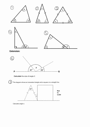 Angles In A Triangle Worksheet Beautiful Ks2 Missing Angles In A Triangle Year 4 5 6 Worksheet