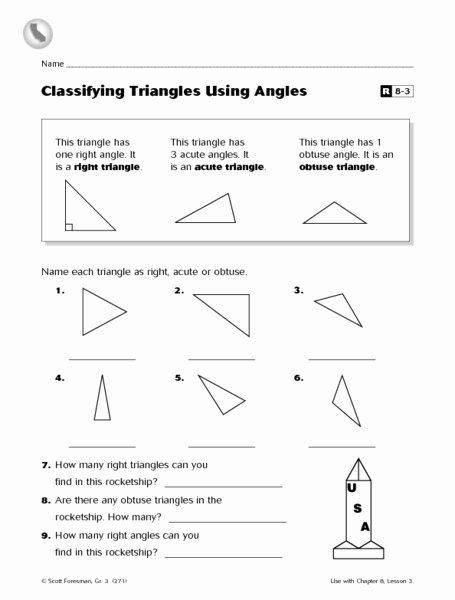 Angles In A Triangle Worksheet Fresh Classifying Triangles Using Angles R8 3 Worksheet for 3rd