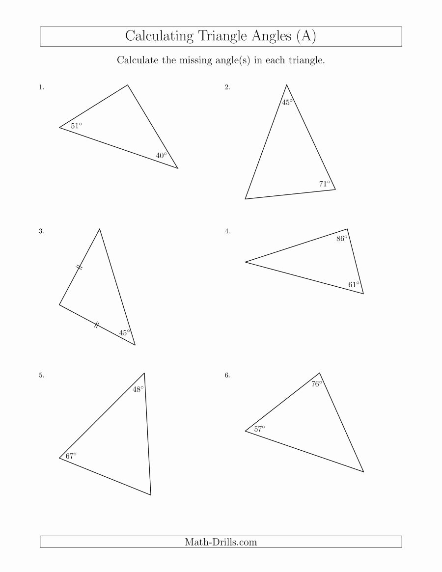 Angles In A Triangle Worksheet Lovely Calculating Angles Of A Triangle Given the Other Angle S