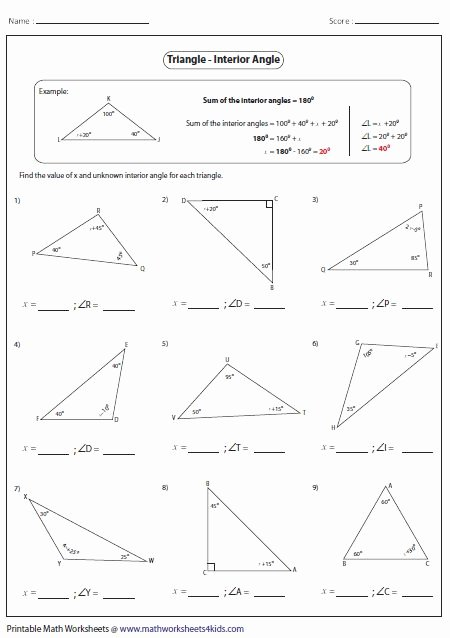 Angles In A Triangle Worksheet New 31 Best Images About Education On Pinterest