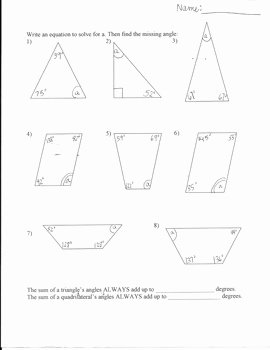 Angles In A Triangle Worksheet Unique Missing Angles Worksheet Triangles and Quadrilaterals