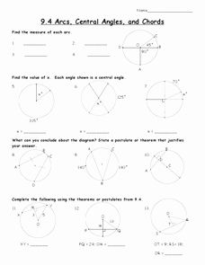 Angles In Circles Worksheet Best Of Arcs Central Angles and Chords Worksheet for 10th Grade
