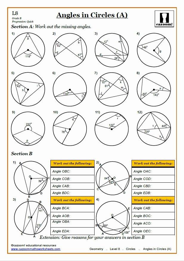 Angles In Circles Worksheet Elegant Cazoom Maths Worksheets Maths Worksheets