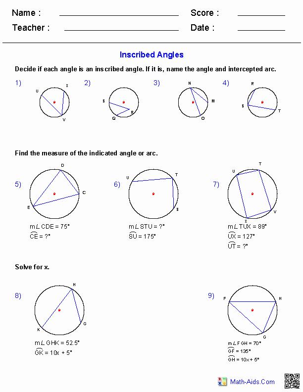 Angles In Circles Worksheet Elegant Geometry Worksheets
