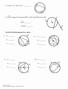 Angles In Circles Worksheet Fresh Circles Tangents Arcs Inscribed Angles Printables Practice