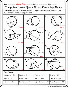 Angles In Circles Worksheet Inspirational Circles Tangent and Secant Lines In Circles Color by