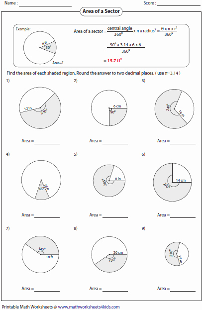 Angles In Circles Worksheet Lovely Arc Length and area Of Sector Worksheets