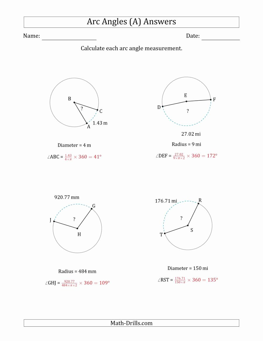 Angles In Circles Worksheet New Angles Measuring Worksheet Math Circle Angles Best Free