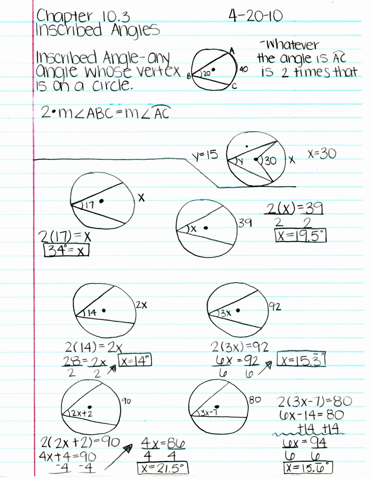 Angles In Circles Worksheet New Mr Ryals Geometry Blog April 2010