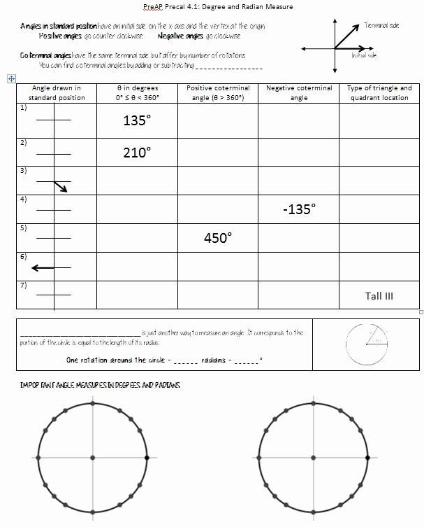 Angles In Circles Worksheet New Special Unit Circle Angles Worksheet – Insert Clever Math