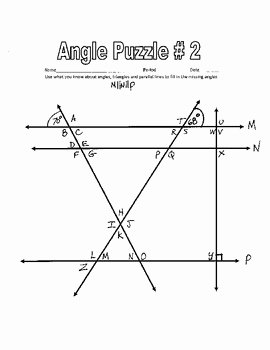 Angles In Transversal Worksheet Answers Elegant Parallel Lines Cut by A Transversal Printable Missing