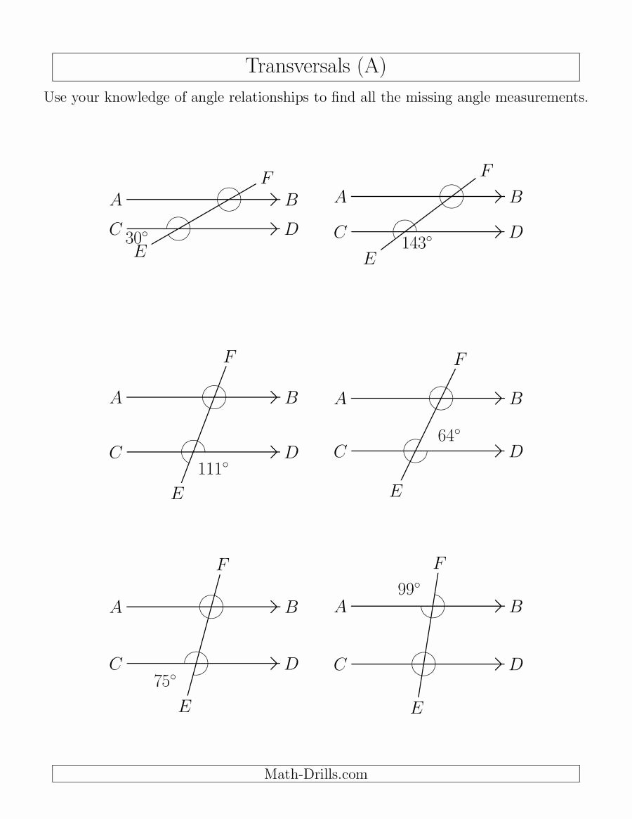 Angles In Transversal Worksheet Answers Inspirational Angle Relationships In Transversals A