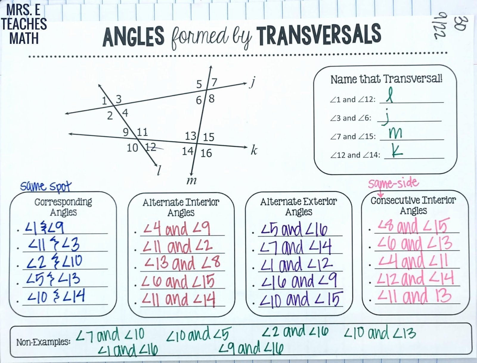 Angles In Transversal Worksheet Answers Lovely Parallel Lines Inb Pages