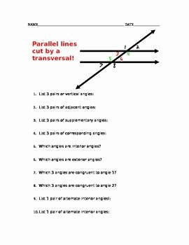 Angles In Transversal Worksheet Answers New Parallel Lines Cut by A Transversal Vocabulary Worksheet