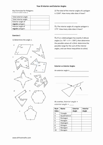 Angles Of Polygon Worksheet Beautiful Polygons and Interior Exterior Angles by Drfrostmaths