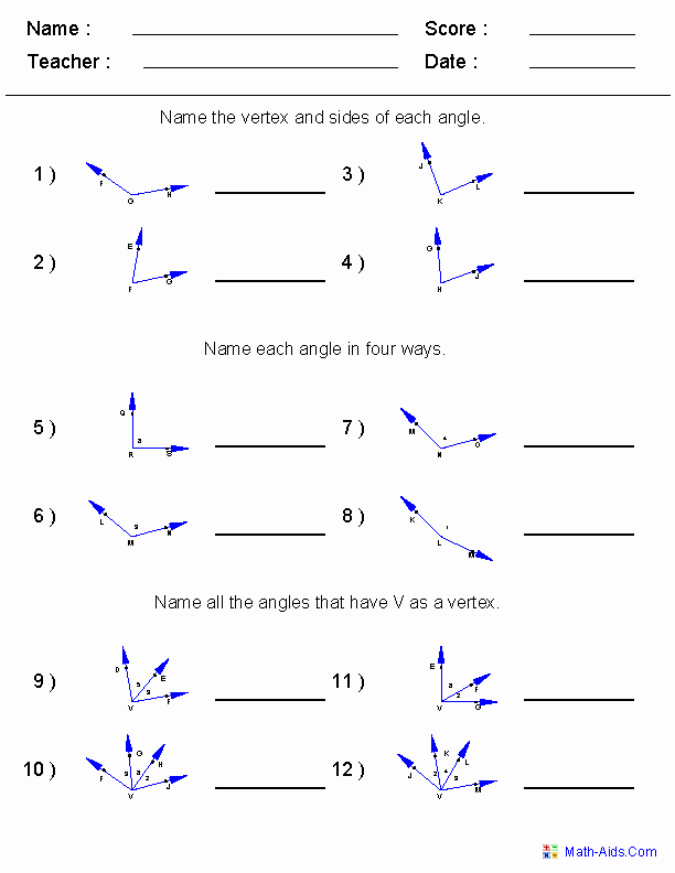 Angles Of Polygon Worksheet Elegant Naming Angles Worksheets 6th Grade Math