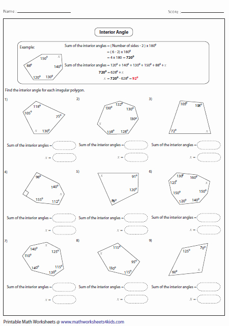 Angles Of Polygon Worksheet Fresh Polygon Worksheets