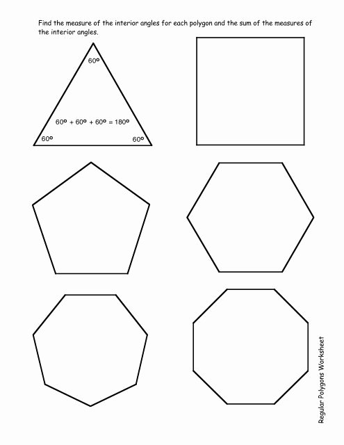 Angles Of Polygon Worksheet Inspirational Regular Polygons Worksheet Pdf
