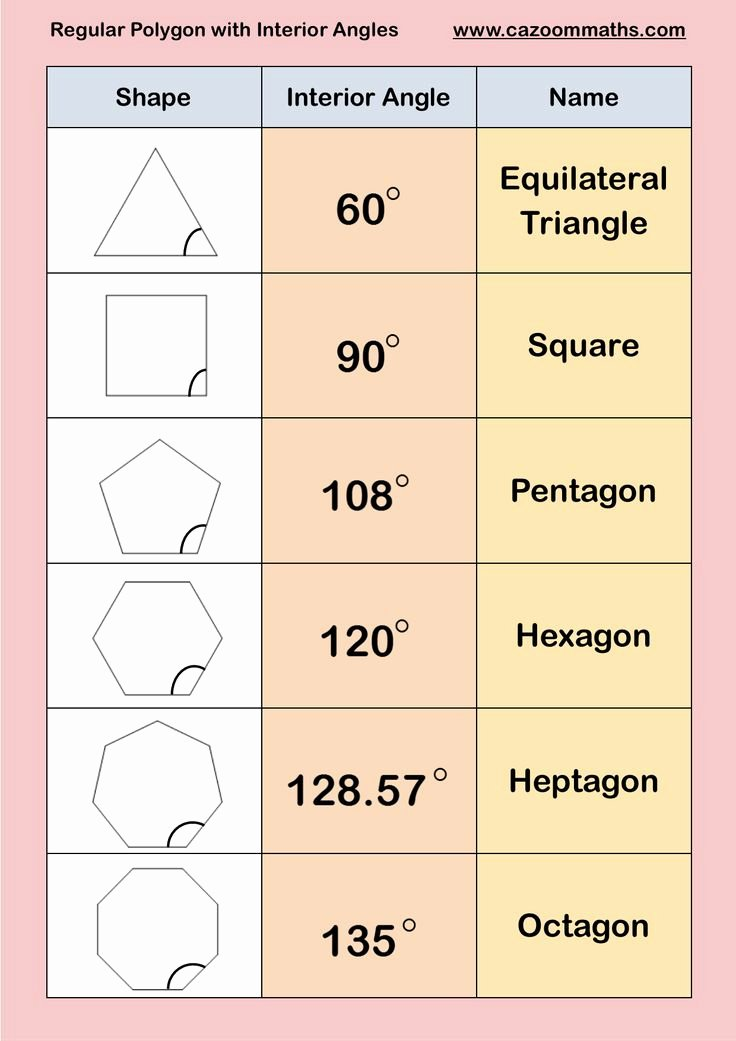 Angles Of Polygon Worksheet Lovely 12 Best Regular Polygons Images On Pinterest