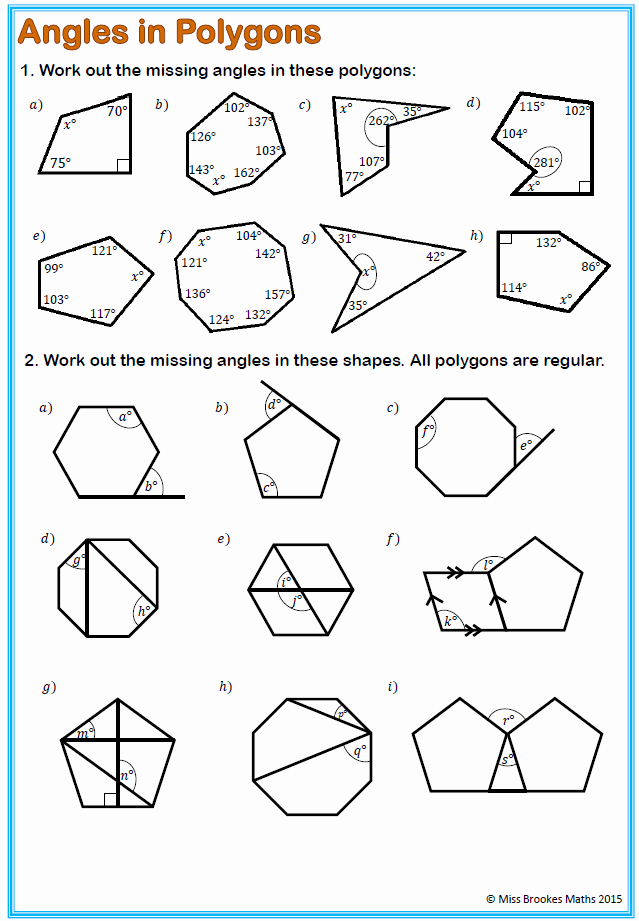 Angles Of Polygon Worksheet Lovely Interior and Exterior Angles A Regular Polygon