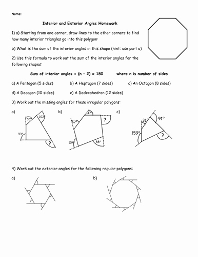 Angles Of Polygon Worksheet New Interior and Exterior Angles Homework by Jhofmannmaths