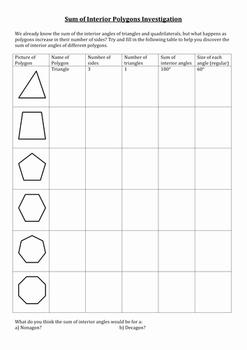 Angles Of Polygon Worksheet New Sum and Interior Angles Worksheet by Amylob