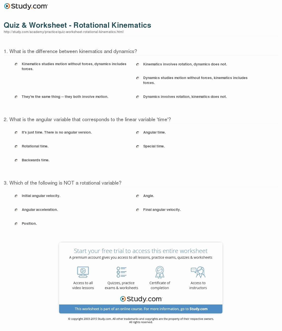 Angular and Linear Velocity Worksheet Inspirational Quiz & Worksheet Rotational Kinematics