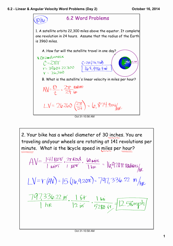 Angular and Linear Velocity Worksheet Unique 6 2 Linear & Angular Velocity Word Problems