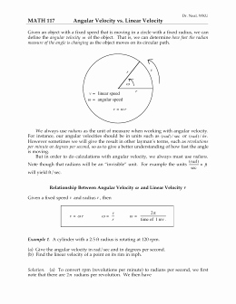 Angular and Linear Velocity Worksheet Unique Worksheet 1 1 Arc Length and Angular Velocity Word Problems