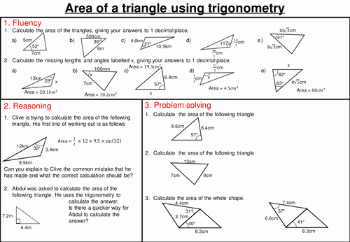 Area Of A Triangle Worksheet Awesome area Of A Triangle Using Trigonometry Mastery Worksheet