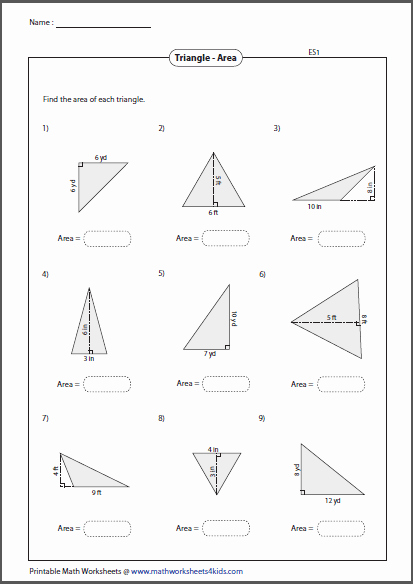 Area Of A Triangle Worksheet Awesome Triangles Worksheets