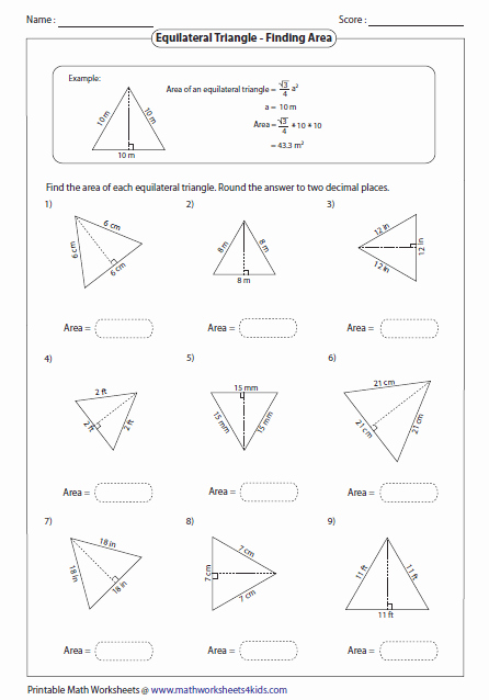 Area Of A Triangle Worksheet Beautiful Triangles Worksheets