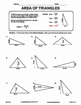 Area Of A Triangle Worksheet Best Of area Triangles by Maisonet Math Middle School