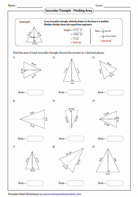 Area Of A Triangle Worksheet Fresh Triangles Worksheets
